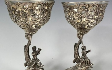 A PAIR OF CONTINENTAL SILVER FIGURAL SALTS