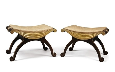 A PAIR OF NEOCLASSICAL STYLE PARCEL-GILT SIMULATED ROSEWOOD X-FORM STOOLS