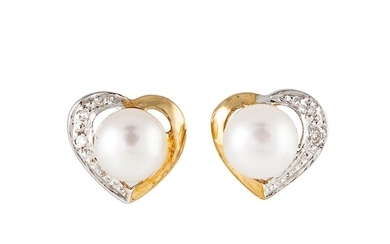 A PAIR OF PEARL AND DIAMOND EARRINGS, the central pearls to ...