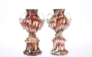 A PAIR OF VICTORIAN SPLATTER GLASS VASES, the marbled
