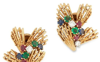 A PAIR OF VINTAGE RUBY, EMERALD, SAPPHIRE AND DIAMOND