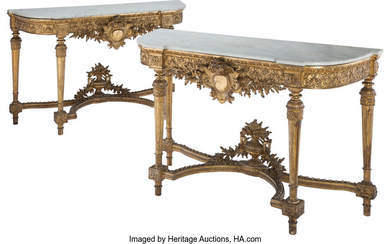 A Pair of French Napoleon III Gilt Carved Wood Consoles with Marble Tops (19th century)