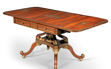 A REGENCY ORMOLU-MOUNTED, BRASS-INLAID, PARCEL-GILT AND CALAMANDER-CROSSBANDED BRAZILIAN ROSEWOOD SOFA TABLE