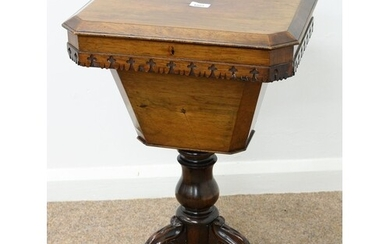 A VICTORIAN ROSEWOOD WORK TABLE, C1850, THE OCTAGONAL TOP WI...