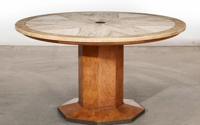 A Widdicomb travertine and burlwood center table