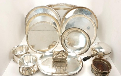 A collection of silver plated items, predominantly...