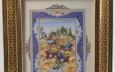 A hand painted Islamic sporting scene signed by artist. Fram...