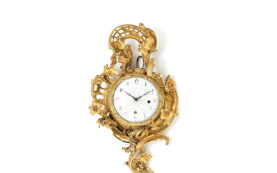 A late 19th century French gilt bronze and later cartel clock