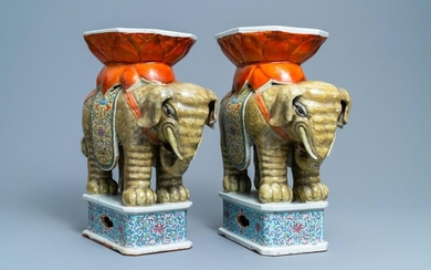 A pair of Chinese famille rose elephant shaped garden seats, 19/20th C.