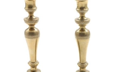 A pair of French 19th century bronze candlesticks. H. 25 cm. (2)