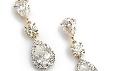 A pair of diamond ear pendants each set with two pear-shaped and numerous brilliant-cut diamonds, mounted in 18k gold, pink and white gold. L. app. 2.8 cm. (2)