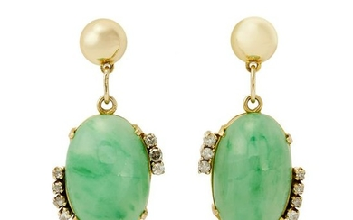 A pair of jadeite jade and diamond earrings.