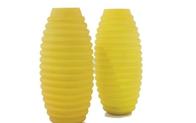 A pair of yellow glass vases, Vetrarti, '70s