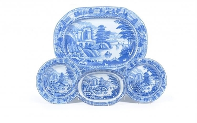 A selection of John & Richard Riley blue and white printed pearlware 'Scene after Claude Lorraine' pattern