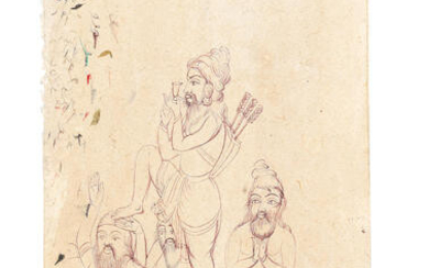 A sheet of sketches of a group of akalis in different poses, one smoking bhang and wearing a quiver, Punjab, mid-19th Century