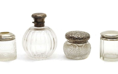 A silver mounted glass scent bottle