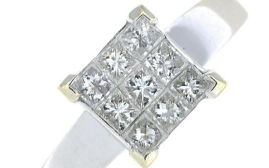 A square-cut diamond ring.Total diamond weight 0.50ct