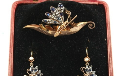 A very unusual yellow gold gem set brooch & earrings suite, ...