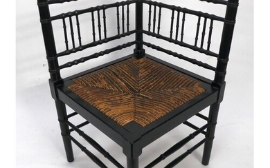 AFTER A DESIGN BY WILLIAM MORRIS, BAMBOO PATTERN EBONISED CO...