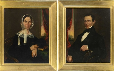 """AMERICAN SCHOOL, Mid-19th Century, Pair of portraits, likely a husband and wife., Oils on canvas, 33"""" x 27"""". Framed 41"""" x 33""""."""