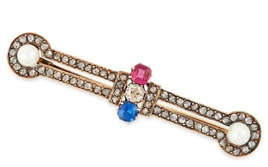 AN ANTIQUE DIAMOND, RUBY, SAPPHIRE AND PEARL BROOCH set