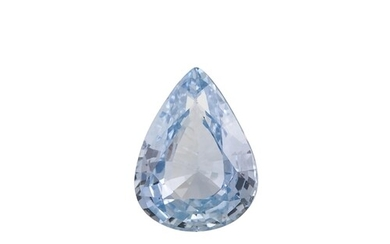 AN UNMOUNTED PEAR SHAPED BLUE SAPPHIRE, together with certif...