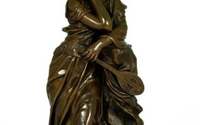 Adrien Etienne Gaudez (1845-1902) - Sculpture of a lady with mandolin entitled 'Mignon' - Bronze - Late 19th century