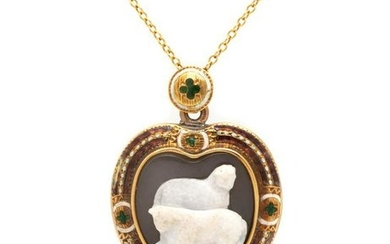An Antique Yellow Gold, Cameo and Polychrome Enamel