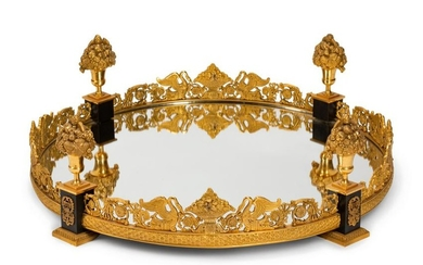 An Empire Style Gilt Bronze Mounted Mirrored Plateau