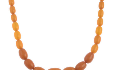 An amber bead necklace.