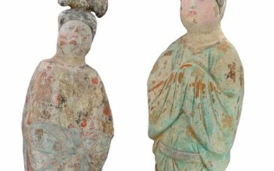 Ancient Chinese Terracotta Two Fat Ladies with TL tests. - (2)