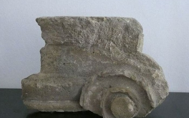 Ancient Greek Sandstone Fragment of an Ionic Capital - 34×22×18 cm