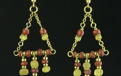 Ancient Roman Glass Earrings with red and yellow glass beads