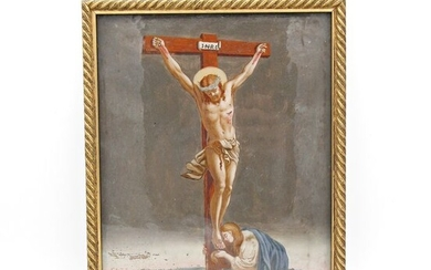 Ancient painting on glass depicting Christ crucified - Blown glass - Late 18th / early 19th century