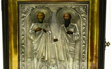 Antique 19c Russian Silver icon of Peter & Paul with