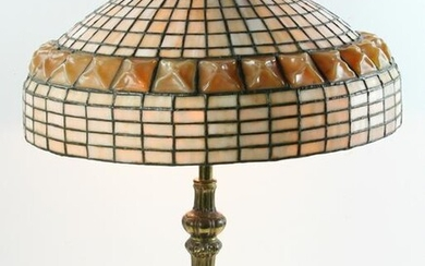 Antique Scarab Glass and Leaded Shade with Base