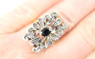 Antique style sapphire and diamond ring, centred with a...