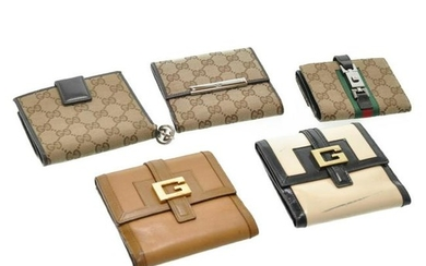 Authentic Gucci Gg Canvas Wallet Patent Leather 5Set