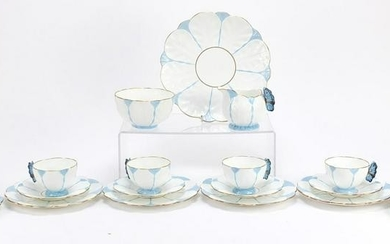 Aynsley six place tea service with butterfly wing