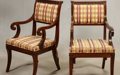 BAKER GREEK REVIVAL MAHOGANY UPHOLSTERED CHAIRS 2