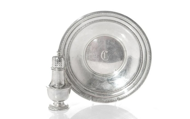 BIRKS SUGAR CASTER & ENGLISH SILVER DISH, 325g