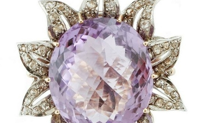 Big central Amethyst, Diamonds, Rose Gold and Silver