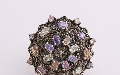 Big silver ring, 835/000, with color stones. Ring