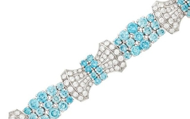 Birk's Low Karat White Gold, Blue Zircon and White Sapphire Bracelet