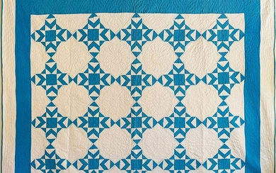 Blue and White Geometric Pattern Patchwork Quilt, circa 1930s
