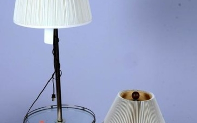 Brass floor lamp w/ glass top table, glass table lamps