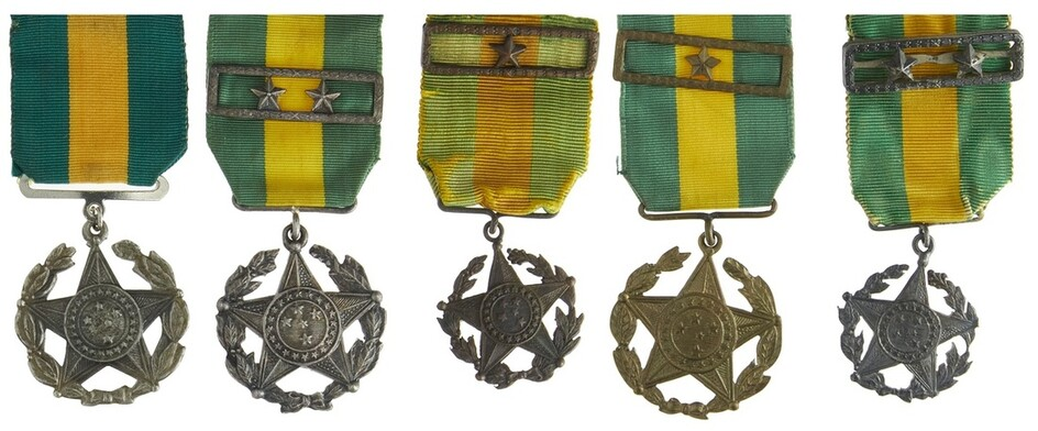 Brazil. Group of Military Long Service Medals. Various models. Silver - Two Stars (2) - one by...