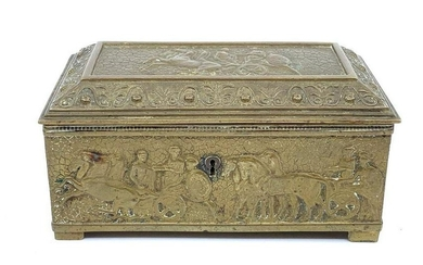 Bronze Classical Motif Desk Box, early 20thc, rectangular form with hinged cover, molded in relief with scenes of horse drawn chariots after the antique, with brown velvet lined interior. 3 x 5 x 2.5in. Condition: Good with wear commensurate with age.