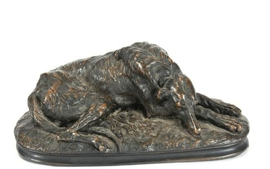 Bronze Figure Of Deerhound At Rest