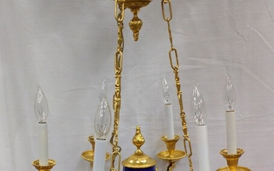 Bronze and Porcelain Servres Style Hanging Lamp